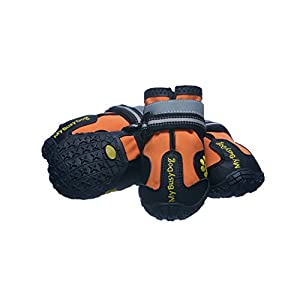 Water Resistant Dog Shoes with Reflective Velcro and Rugged Anti-Slip Sole (Size 8, Orange)