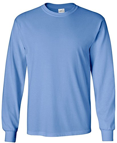 ong Sleeve Cotton Crewneck T-Shirt Carolina Blue-L ()