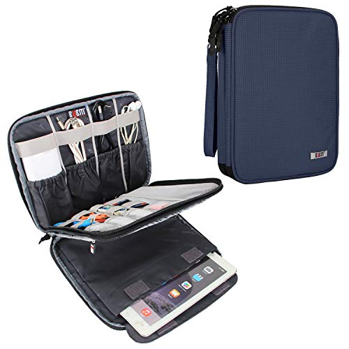 BUBM Electronic Organizer, Travel Cable Organizer Cord Bag for Earphone, USB Flash Drive, Memory Card and More, Compatible with 9.7″ iPad or Tablet (X-Large, Dark Blue)