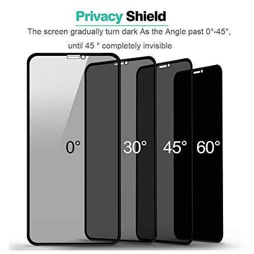Anti Spy case for Tempered Glass,Privacy Screen Protector for iPhone X iPhone Xs,Full Coverage Screen Protector Anti Scratch Anti-spy[Case Friendly][No Bubbles][9H Hardness]
