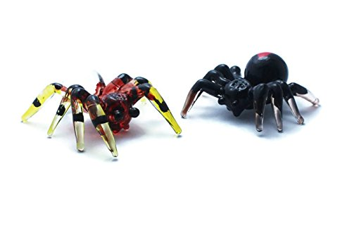 ChangThai Design Double Spider Animal Handcrafted MINIATURE HAND BLOWN GLASS FIGURINE Collection - Glass Spider