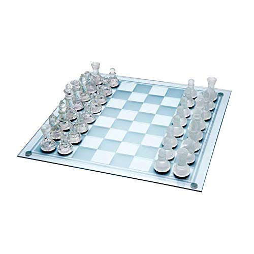 Laideyilan 13.8'' X 13.8'' Fine Glass Chess Game Set, K9 Material Solid Glass Chess Pieces and Crystal Mirror Chess Board for Youth Adults Gift