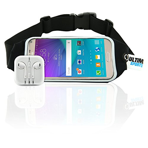 Ultimate Sports Pro Running Waist Pack with Earbuds for Women + Men - Black Lycra Fitness & Exercise Fanny Expandable Belt Best as Sweat Resistant Money Bag and Runner Travel Pouch - 4.7 Inches