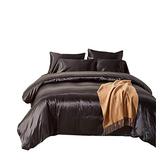 Dream Bedding Silk Sheet Set 4 Pcs, Silk Bed Sheets, Luxury Bedding Sets -Ultra Soft, Hypoallergenic, Durable-100% Top Grade Silk Twin, Black (Nz Furniture Covers Outdoor)
