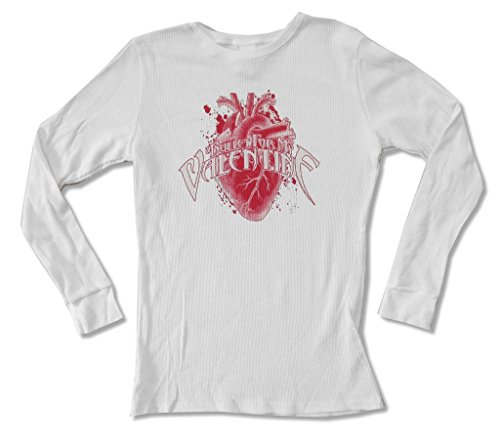 Tee Heart Thermal - Bullet for My Valentine Heart Girls Juniors White Thermal Shirt (M)