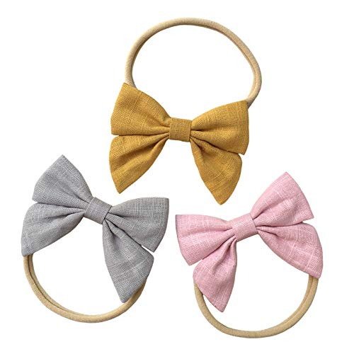 Super Soft Headbands and Cotton Bows for Baby Girl, Stretchy Nylon Hairbands For Newborn Infant Toddler ()