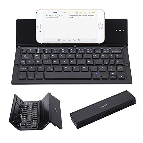 Folding Keyboard, Geyes Portable Ultra-Thin Wireless BT Keyboard Aluminum Alloy with Kickstand Universal fit iPhone X/iPhone 8/7 Plus/Windows/iOS/Mac/Android Tabletphone (Black) (Android Portable Keyboard)