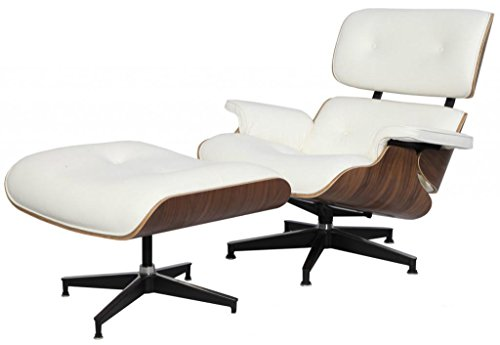 Modern Sources - Mid-Century Plywood Lounge Chair & Ottoman Eames Replica White Walnut Real Premium ()