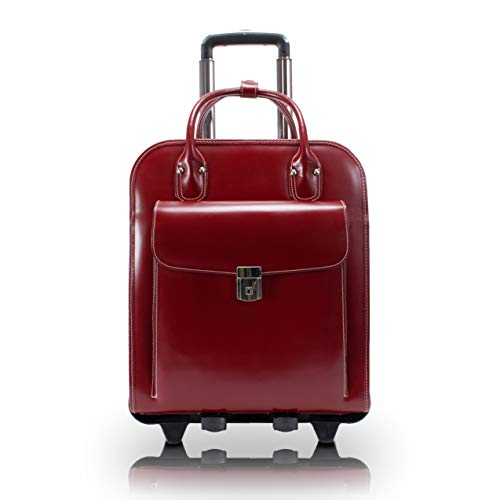 Detachable -Wheeled Women's Laptop Briefcase, Leather, Mid-Size, Red - LA Grange | McKlein - 96496