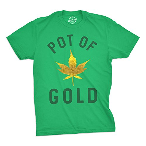 Mens Pot of Gold Tshirt Glitter Marijuana Leaf Tee for Guys (Green) - XL