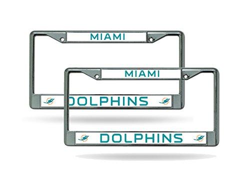 e Metal (2) Auto Car Truck License Plate Frame Set (Miami Dolphins Chrome Auto)
