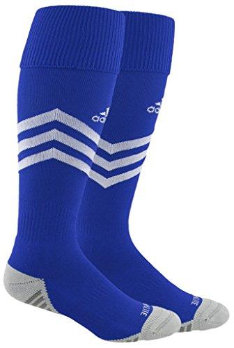 adidas Mundial Zone Cushion Soccer Socks (1-Pack), cobalt/white/light Onix/Onix, 13C-4Y