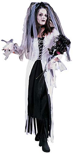 Ladies Long White Skeleton Corpse Bride Undead Zombie Halloween Horror Fancy Dress Costume Outfit (UK -