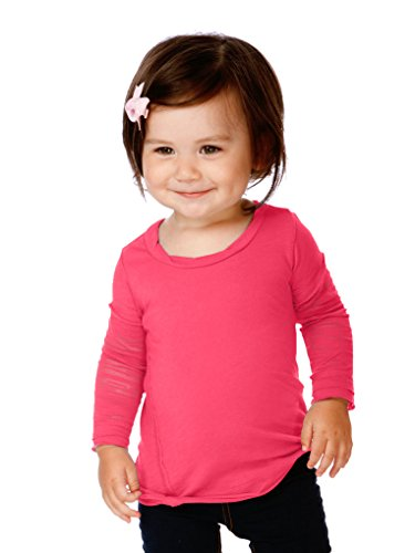 (Kavio! Infants Sheer Jersey Raw Edge Twisted Round Neck Two-Fer Burnout Long Sleeve Watermelon 18M)