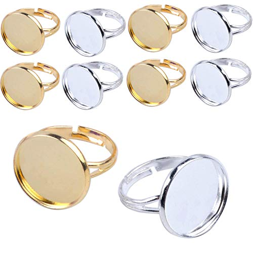(Jdesun 20 Pieces Ring Blanks with 12mm Adjustable Ring Bases, Metal Round Finger Ring Trays, Gold and Silver Plated)