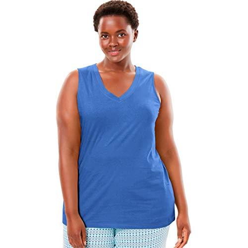 Dreams & Co. Women's Plus Size Cotton Sleep Tank - True Blue, 22/24 ()