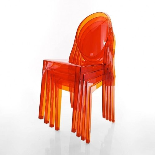 Kartell Victoria Ghost Stuhl 4er Set, orange transparent