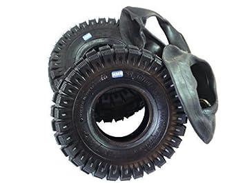 hmparts 2x Neumáticos 3.00-4 - TAMAÑO - Kit con manguera - MINIMOTO / Mini Quad / Mini triciclo: Amazon.es: Coche y moto