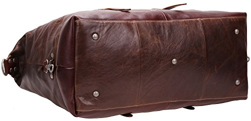 Iblue Genuine Leather Travel Duffel Weekend Bag Luggage Carry On Gym Handbag D05(dark brown) by iblue (Image #5)