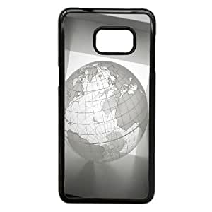 Tiujx Unique Phone Cases Samsung Galaxy S6 Edge Plus Cell Phone Case Black ball globe background gray Plastic Durable Cover
