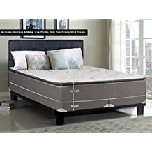 Greaton 9040vF-5/0-2SFLPS Fully Assembled Soft Pillow Top Innerspring Mattress and 5-inch Split Metal Box Spring/Foundation Set with Frame |Queen Size| Mink &, White, Color
