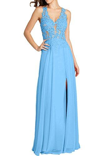 Spitze Chiffon Abendkleider Braut Blau Partykleider Neu Marie La Langes Fesltichkleider Abiballkleider Flieder aq17xWt