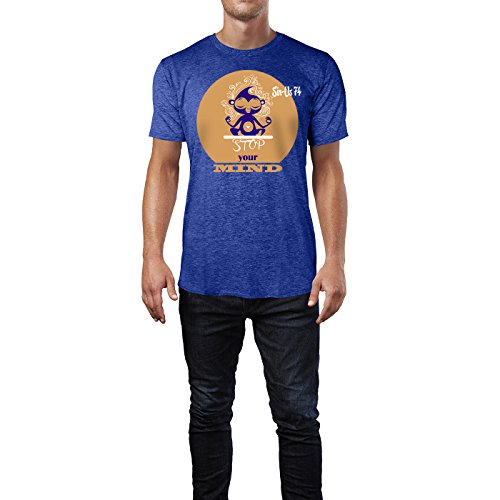 SINUS ART® Süßer Cartoon Affe in Yoga Sitz Herren T-Shirts in Vintage Blau Cooles Fun Shirt mit tollen Aufdruck