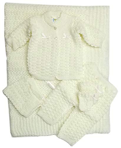 Newborn Baby Crochet Blanket 5 Piece Set Hat, Booties, Sweater, Pants (White)