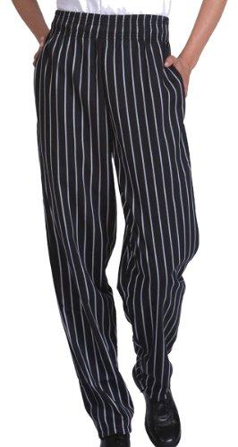 Ed Garments Men's Elastic Waist Baggy Chef Pant, BLACK STRIPE, Small. 2000 (Dress Pants Baggy)