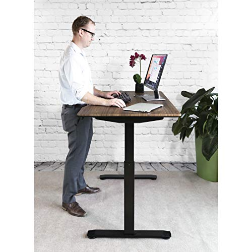 "Seville Classics OFFK65824 Airlift S2 Electric Standing Desk with 54"" Top, Dual Motors, 4 Memory Buttons, LED Height Display (Max. 48.4"" H) 2-Section Base, Black/Walnut, Wood,"