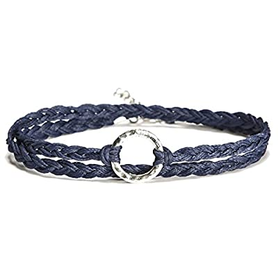 Discount Karma anklet, blue wrap anklet with a silver circle charm, blue braided ankle bracelet, gift for her spiritual for sale