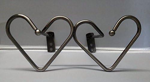 Heart Designer Swag Curtain Tieback Holders Nickle Plate Silver Set of 2