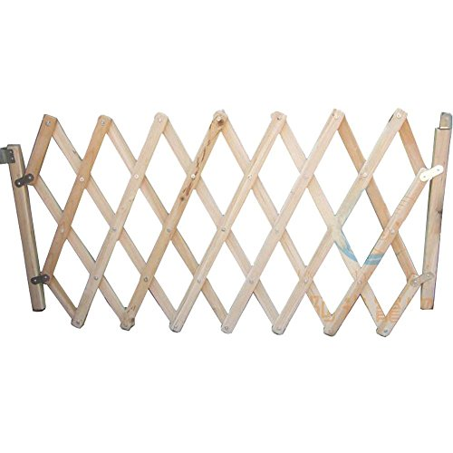 YK Decorative Wood Dog Gate Pet Door Expanding Gate, Easy Swing and Lock Wood Gate M Size