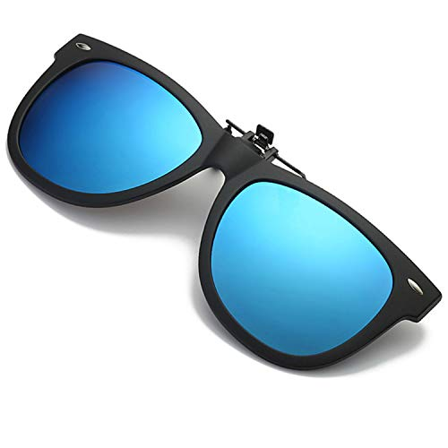 Polarized Clip-on Sunglasses UV 400 Lens TR 90 Frame Fishing Driving Flip Up Sunglasses Fit Over Prescription Glasses (Blue)
