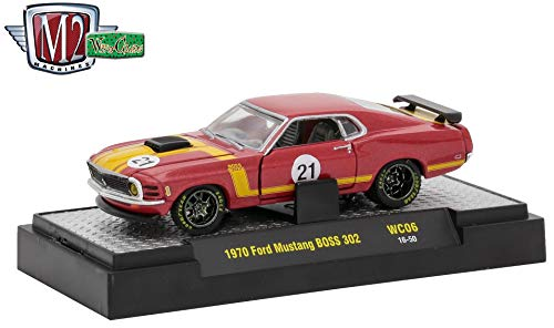 M2 Machines 1971 Ford Mustang BOSS 302 (Maroon Metallic w/Flat Yellow Stripes) Wild Cards Release WC-06 - 2017 Castline Premium Edition 1:64 Scale Die-Cast Vehicle (WC06 -