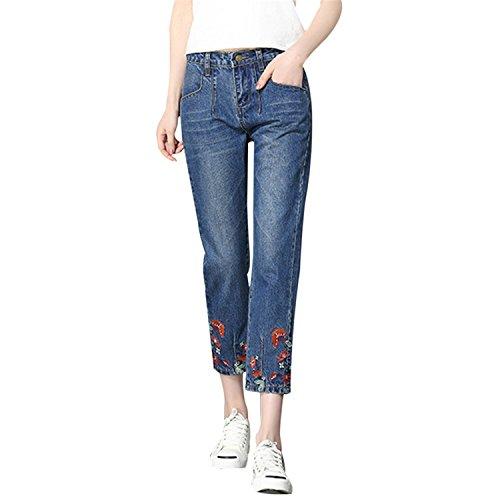 Flores Mujer Pants para Mom el Cowboy European Jeans Femme 2018 As Tobillo Denim Mujeres Moda Photo Bordadas hasta Jeans Pants Auspiciousi dqSxwUPd