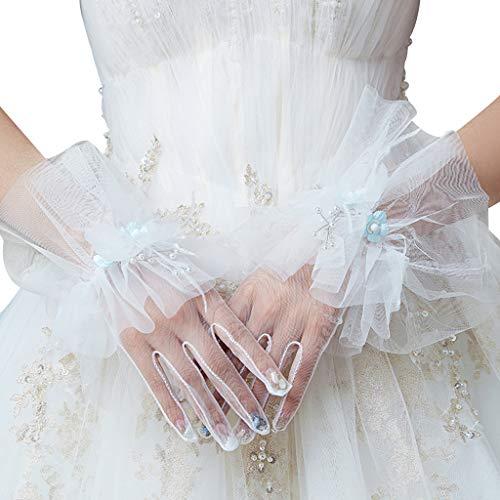 GUSENG Women Bridal Wedding Sheer Mesh Short Gloves Faux Pearl Beaded Small Flower Bow Ruffled Full Finger Wrist Mittens Party Costume