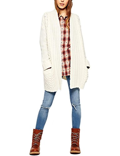 Choco Mocha White Cardigan Sweaters for Women Open Front Cable Knit with Pockets