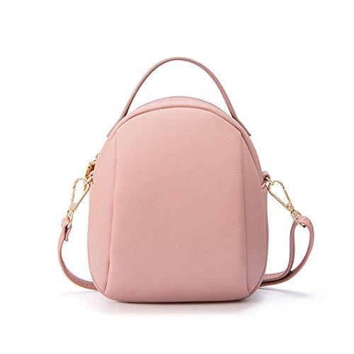Xiaolongy New Mini Messenger Bag Shoulder Bag Hand Bag Multifunction Bag Fashion Joker, Gray Pink
