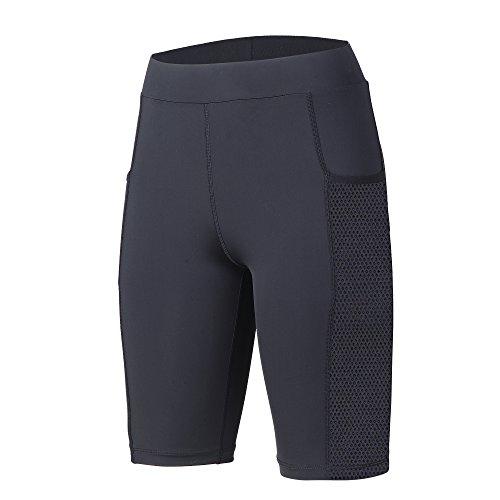 Beroy Yoga Capri Short Legging Pants with Two Pockets ,4CM High Waistband Women Running Workout pants with SIDE MESH ,Women's Activewear(XL,Black) ()