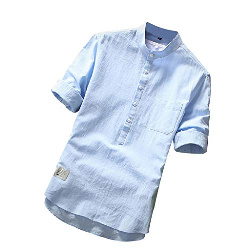 (Cotton Linen Shirts for Men Short Sleeve Button Down Pure Color Casual Slim Fit Summer Fashion T-Shirt Tops Blue)