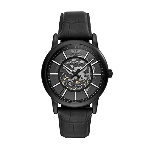 Emporio Armani Men's 'Dress' Japanese Automatic Stainless Steel and Leather Casual Watch, Color:Black (Model: AR60008)