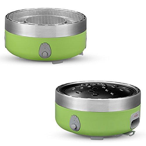 Hibachi Charcoal Grills - Hibachi Yakinika Charcoal Grill For Yakitori - Outdoor Tabletop Smoke & Smokeless Optional - Power Supplied By Battery Or Power Bank. (Healthy Green)