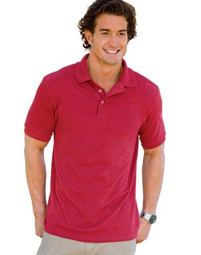 Hanes Men`s ComfortSoft® Cotton Pique` Polo, L-Deep Red