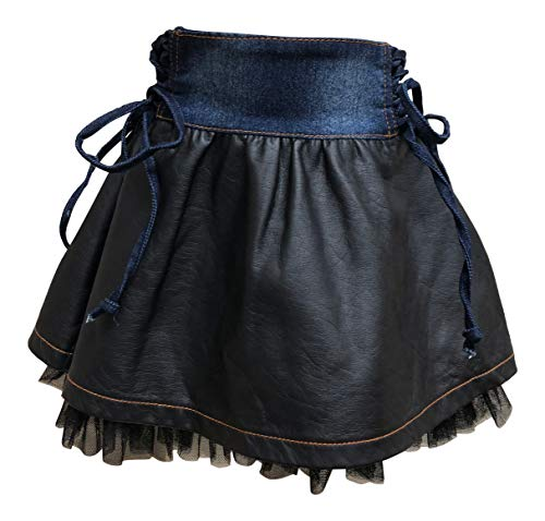 (Nickanny's Denim and Pleather Little Girls Skirt with Tulle by Lipstik Girls)