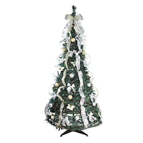Northlight 6' Pre-Lit Silver and Gold Decorated Pop-Up Artificial Christmas Tree - Clear Lights