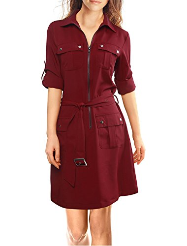 Allegra K Roll Up Sleeves Multi-Pocket Above Knee Belted Shirt Dress XL Red Cargo Dress