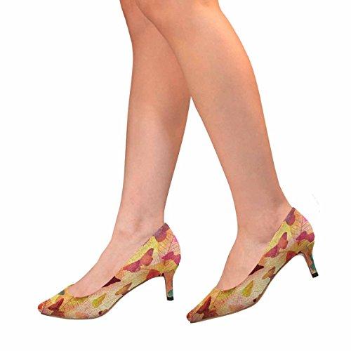 Interestprint Mujeres Bajo Gatito Talón Punta Estrecha Vestido Zapatos De La Bomba Mariposas En Hojas De Esqueleto Multi 1