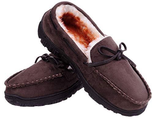 Men's Micro Suede Moccasin Slippers Warm House Shoes Home Indoor Outdoor Footwear Dark Brown 11 M ()