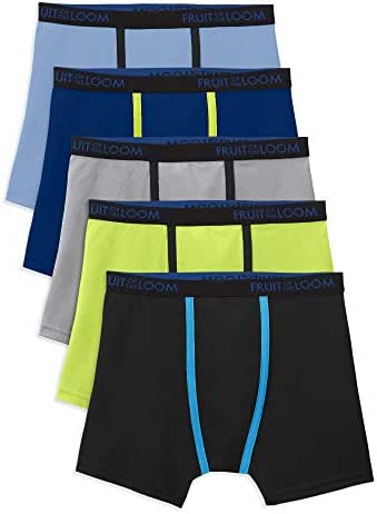 Fruit of the Loom Boys Breathable Lightweight Micro-Mesh Boxer Briefs (5 Pack)